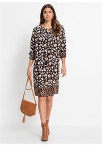 Sukienka z nadrukiem, długi rękaw bonprix czarno-brązowo-niebieski z nadrukiem. Kolor: czarny. Materiał: tkanina. Długość rękawa: długi rękaw. Wzór: nadruk. Styl: boho #4