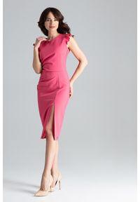 Lenitif - Koktajlowa sukienka midi z rozcięciem z przodu koralowa. Okazja: na ślub cywilny, na wesele. Kolor: pomarańczowy. Materiał: tkanina. Długość rękawa: bez rękawów. Typ sukienki: ołówkowe. Styl: wizytowy. Długość: midi #3