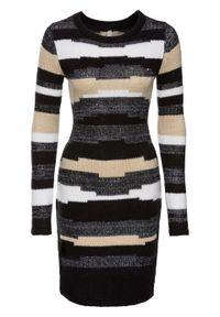 Szara sukienka bonprix w kolorowe wzory