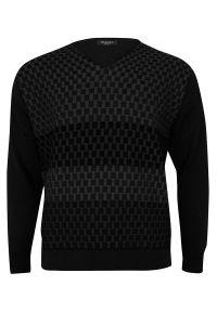 Czarny sweter Elkjaer z dekoltem w kształcie v, w geometryczne wzory, na zimę, klasyczny