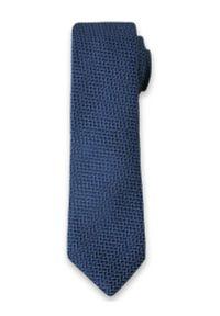 Elegancki Krawat Męski w Drobny Wzór 6 cm- Alties, Niebiesko-Granatowy. Kolor: niebieski. Materiał: tkanina. Styl: elegancki