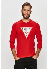 Czerwona koszulka z długim rękawem Guess Jeans z nadrukiem, na co dzień