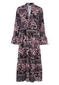 Różowa sukienka bonprix z długim rękawem, z dekoltem w serek