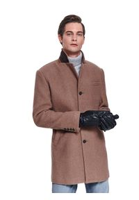 TOP SECRET - Płaszcz elegancki z kołnierzem. Materiał: tkanina, wełna. Sezon: jesień, zima. Styl: elegancki