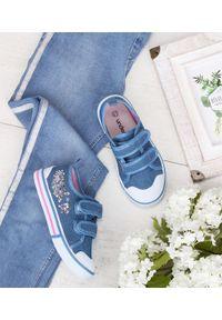 Niebieskie trampki UNDERLINE w kolorowe wzory, na rzepy