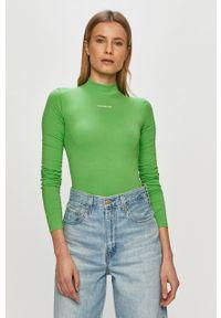 Zielona bluzka z długim rękawem Calvin Klein Jeans gładkie, na co dzień, casualowa