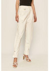 Białe spodnie materiałowe Miss Sixty z podwyższonym stanem