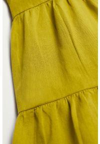 Żółta sukienka Mango Kids na ramiączkach, gładkie, rozkloszowana