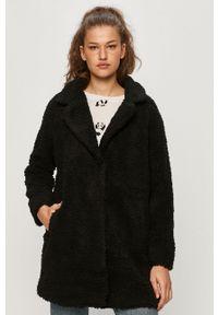 Czarny płaszcz only z klasycznym kołnierzykiem, casualowy, raglanowy rękaw, na co dzień