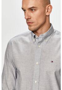 Szara koszula TOMMY HILFIGER na co dzień, button down, z długim rękawem, casualowa