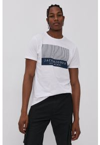 Jack & Jones - T-shirt bawełniany. Kolor: biały. Materiał: bawełna. Wzór: nadruk