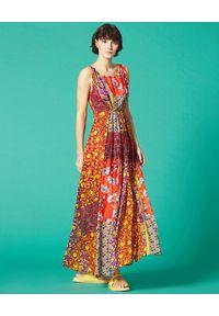 Czerwona sukienka Manila Grace maxi, w kwiaty