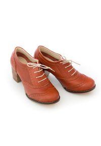 Zapato - sznurowane półbuty na 6 cm słupku - skóra naturalna - model 251 - kolor brązowy. Kolor: brązowy. Materiał: skóra. Obcas: na słupku
