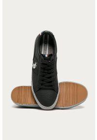 Czarne sneakersy U.S. Polo Assn na średnim obcasie, z okrągłym noskiem, na obcasie