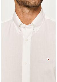 Biała koszula TOMMY HILFIGER na co dzień, z długim rękawem, button down, z aplikacjami