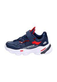American Club - Granatowe sneakersy dziecięce AMERICAN BD03/21. Kolor: niebieski. Materiał: skóra