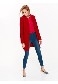 TOP SECRET - Elegancki sweter damski. Okazja: na co dzień. Kolor: czerwony. Materiał: dzianina, wełna. Długość rękawa: długi rękaw. Długość: długie. Sezon: wiosna. Styl: elegancki