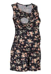 Kombinezon ciążowy i do karmienia bonprix czarny w kwiaty. Kolekcja: moda ciążowa. Kolor: czarny. Wzór: kwiaty