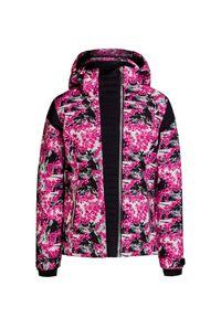 Różowa kurtka narciarska Descente z asymetrycznym kołnierzem, w kwiaty