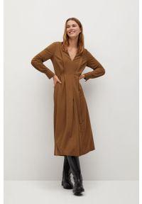 mango - Mango - Sukienka MIRAVENT. Kolor: beżowy. Materiał: tkanina. Długość rękawa: długi rękaw. Wzór: gładki. Typ sukienki: rozkloszowane