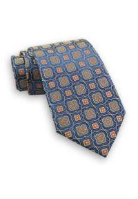 Niebieski Męski Szeroki Krawat -Chattier- 8cm, Klasyczny, w Beżowy Wzór Geometryczny. Kolor: niebieski, beżowy, brązowy, wielokolorowy. Materiał: tkanina. Wzór: geometria. Styl: klasyczny