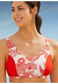 Bikini bustier (2 części), przyjazne dla środowiska bonprix koralowo-biały paisley. Kolor: czerwony. Materiał: materiał. Wzór: paisley