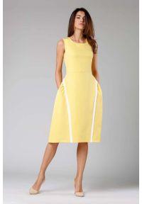 Nommo - Żółta Rozkloszowana Sukienka bez Rękawów z Wypustkami. Kolor: żółty. Materiał: wiskoza, poliester. Długość rękawa: bez rękawów