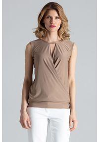Beżowa bluzka Figl bez rękawów, z kopertowym dekoltem