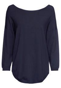 Sweter z dekoltem w serek z tyłu bonprix Sweter z dek.ser c.nieb. Typ kołnierza: dekolt w serek. Kolor: niebieski
