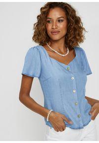 """Koszula dżinsowa, TENCEL™ Lyocell, krótki rękaw bonprix niebieski """"bleached"""". Kolor: niebieski. Materiał: lyocell. Długość rękawa: krótki rękaw. Długość: krótkie. Styl: elegancki"""