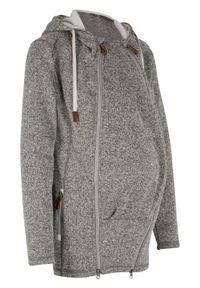 Bluza rozpinana z polaru, ciążowa z wstawką na nosidełko bonprix szaro-matowy srebrny melanż. Kolekcja: moda ciążowa. Kolor: szary. Materiał: polar. Wzór: melanż