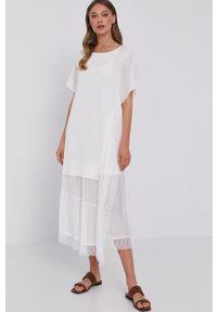 TwinSet - Twinset - Sukienka. Okazja: na co dzień. Kolor: beżowy. Materiał: koronka. Długość rękawa: krótki rękaw. Typ sukienki: proste. Styl: casual