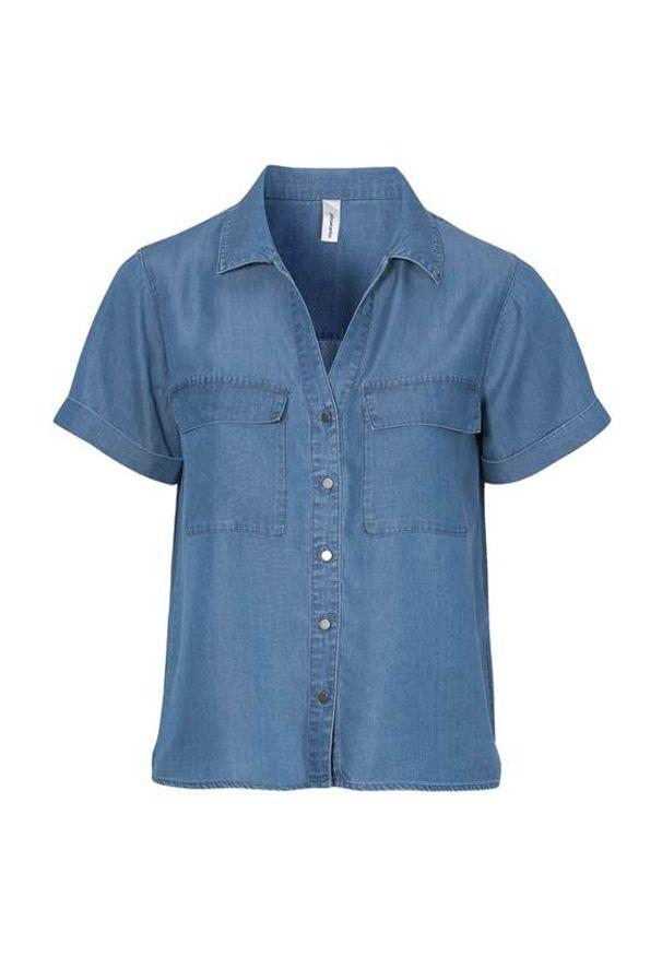 Soyaconcept Koszula z lyocellu Liv denim blue female niebieski S (38). Kolor: niebieski. Materiał: denim. Długość rękawa: krótki rękaw. Długość: krótkie