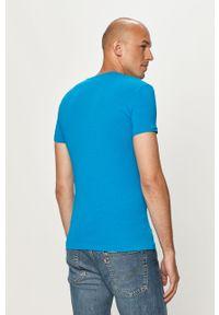 Niebieski t-shirt Emporio Armani z okrągłym kołnierzem, z nadrukiem