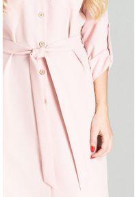 Różowa sukienka Figl koszulowa, na imprezę