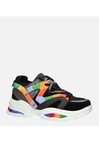 Casu - Czarne buty sportowe sneakersy sznurowane casu 20g5/b. Kolor: wielokolorowy, czarny. Materiał: skóra ekologiczna, materiał. Szerokość cholewki: normalna