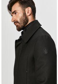 Czarny płaszcz Trussardi Jeans bez kaptura, klasyczny, na co dzień
