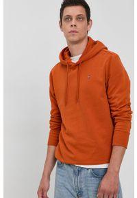 Napapijri - Bluza. Kolor: pomarańczowy. Materiał: bawełna, dzianina. Wzór: gładki, aplikacja