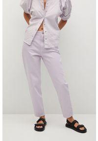 Fioletowe jeansy loose fit mango z podwyższonym stanem