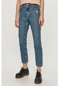 Niebieskie proste jeansy only z podwyższonym stanem