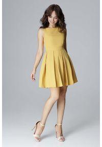 Żółta sukienka wizytowa Katrus wizytowa, bez rękawów