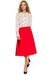 MOE - Czerwona Klasyczna Trapezowa Spódnica Midi. Kolor: czerwony. Materiał: poliester, wiskoza, elastan. Styl: klasyczny