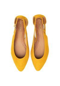 Żółte baleriny Maciejka klasyczne, z cholewką