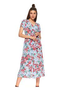 Niebieska sukienka TOP SECRET maxi, elegancka, na jesień, z dekoltem w serek
