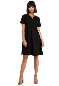 MOE - Czarna Rozkloszowana Sukienka Mini Odcinana pod Biustem. Kolor: czarny. Materiał: len, poliester. Długość: mini