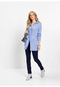 Niebieski sweter bonprix długi, z długim rękawem