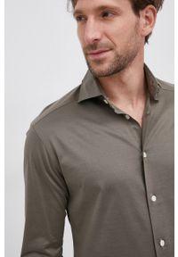 Eton - ETON - Koszula bawełniana. Typ kołnierza: kołnierzyk włoski. Kolor: zielony. Materiał: bawełna. Długość rękawa: długi rękaw. Długość: długie. Wzór: gładki