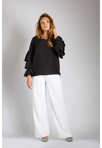 Czarna bluzka z długim rękawem Nommo plus size, wizytowa, z falbankami