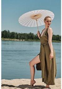 Oliwkowa sukienka Hultaj Polski maxi, na lato