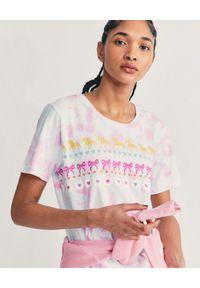 LOVE SHACK FANCY - Kolorowy t-shirt Calix. Okazja: na co dzień. Kolor: biały. Materiał: bawełna, jeans. Wzór: kolorowy. Sezon: lato. Styl: casual
